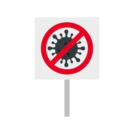 campaign of stop 2019 ncov with particle in forbidden signal vector illustration design