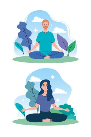 couple meditating in nature and leaves, concept for yoga, meditation, relax, healthy lifestyle vector illustration design
