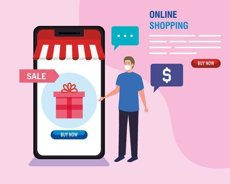 man buying online during covid 19 , shopping online on website, digital marketing in smartphone, stay safe during coronavirus vector illustration design Ilustração Vetorial