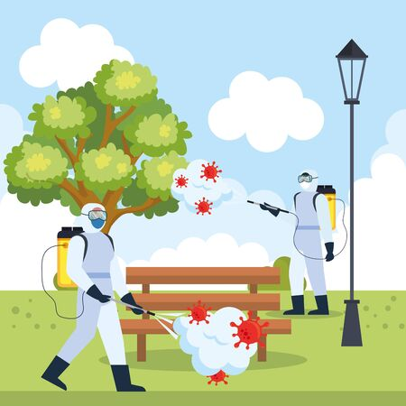 Men with protective suit spraying park tree and bench with covid 19 virus design, Disinfects clean and antibacterial theme Vector illustration