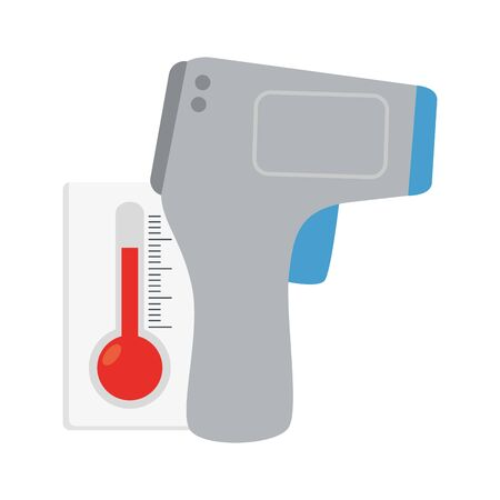 digital non contact infrared thermometer, medical thermometer measuring body temperature, prevention of coronavirus disease 2019 ncov vector illustration design