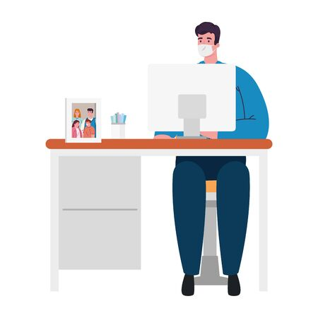 stay home work home, protect yourself, man wearing medical mask during covid 19, stay home on quarantine during the coronavirus vector illustration design Illustration