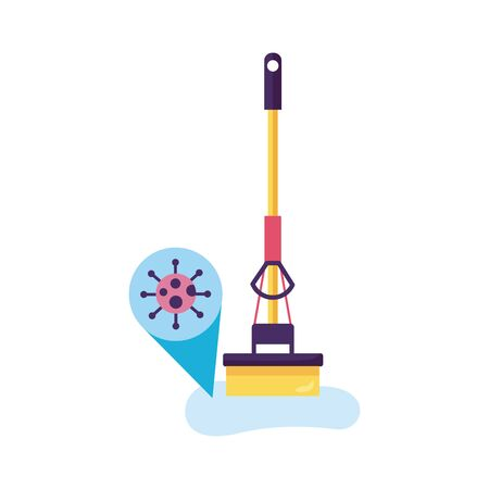 floor mop clean with covid particle detaild style vector illustration design