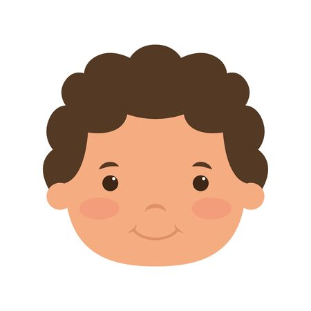 cute little boy head comic character vector illustration design Vettoriali