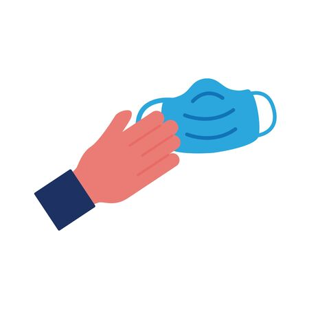 hand with face mask flat style icon vector illustration design  イラスト・ベクター素材