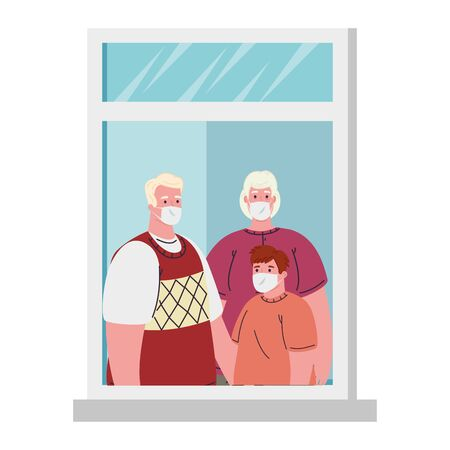 stay at home concept, window, family look out of home, quarantine or self isolation vector illustration design