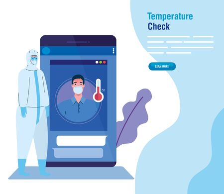 temperature check by non contact thermometer and smartphone, checking new technology vector illustration design