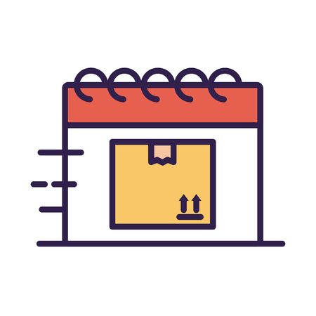 calendar with box carton delivery service line and fill style vector illustration design