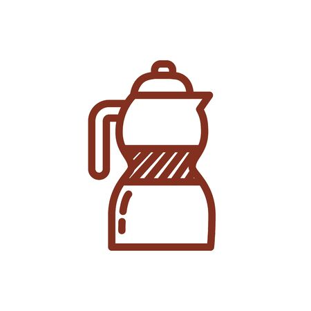 coffee kettle drink line style icon vector illustration design