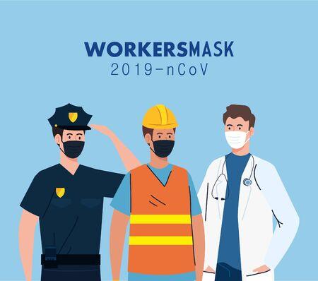 group workers wearing medical mask against 2019 ncov vector illustration design