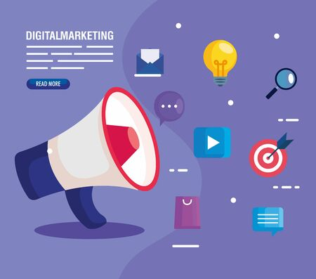 digital online marketing for business and social media marketing, megaphone and marketing icons vector illustration design Vettoriali