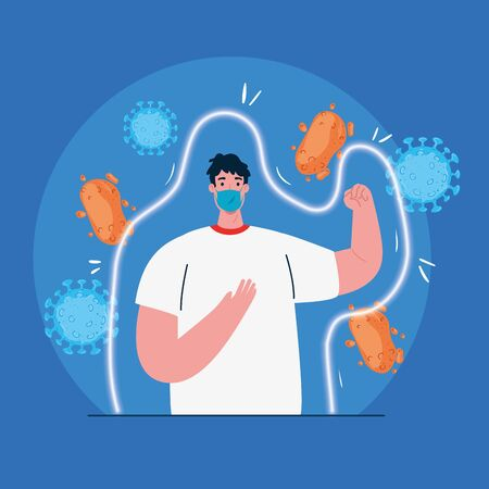 protection against covid 19,, man wearing protective surgical mask against 2019 ncov, coronavirus cells in the environment vector illustration design Vectores