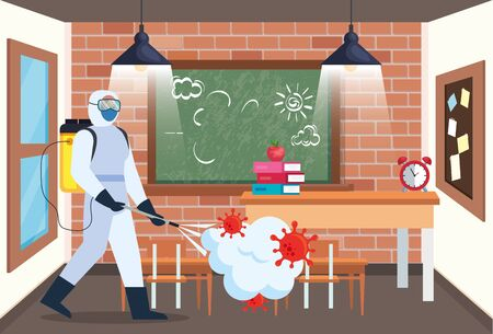 Man with protective suit spraying school room with covid 19 virus design, Disinfects clean and antibacterial theme Vector illustration