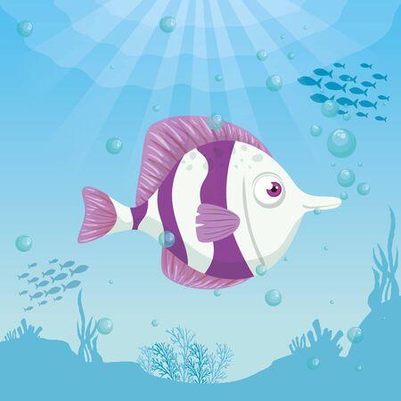 cute fish animal marine in ocean, seaworld dweller, underwater creature,habitat marine concept vector illustration design