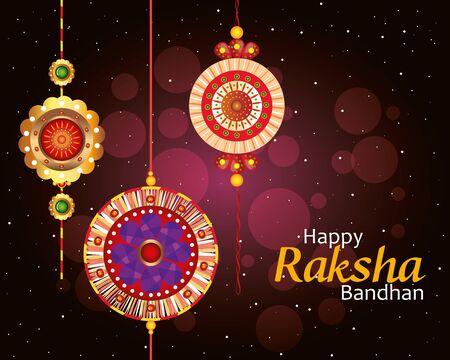 greeting card with decorative set of rakhi for raksha bandhan, indian festival for brother and sister bonding celebration, the binding relationship vector illustration design Banque d'images - 149590355