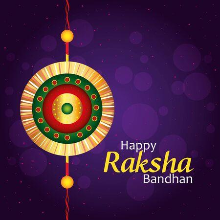 greeting card with decorative rakhi for raksha bandhan, indian festival for brother and sister bonding celebration, the binding relationship vector illustration design Banque d'images - 149592006