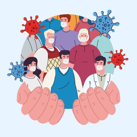 women and men with masks on open hands design of medical care and covid 19 virus theme Vector illustration Archivio Fotografico - 149593443