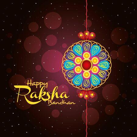 greeting card with decorative rakhi for raksha bandhan, indian festival for brother and sister bonding celebration, the binding relationship vector illustration design Banque d'images - 149590792