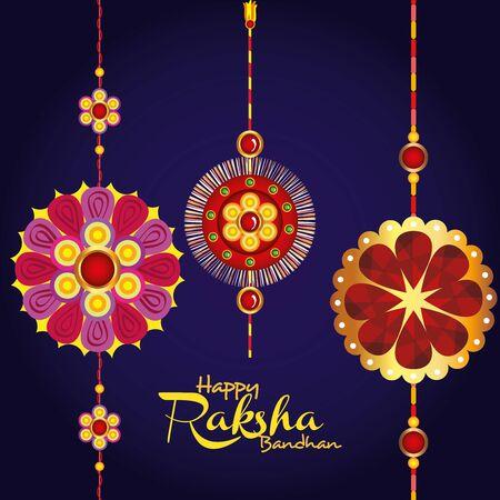 greeting card with decorative set of rakhi for raksha bandhan, indian festival for brother and sister bonding celebration, the binding relationship vector illustration design