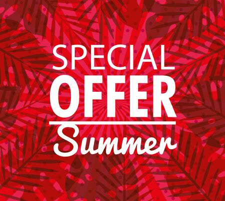special offer summer, banner with tropical leaves background, exotic floral banner vector illustration design
