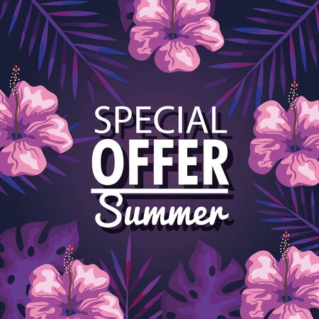 special offer summer, banner with flowers and tropical leaves background, exotic floral banner vector illustration design