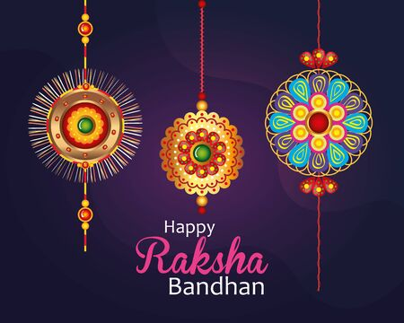 greeting card with decorative set of rakhi for raksha bandhan, indian festival for brother and sister bonding celebration, the binding relationship vector illustration design Banque d'images - 149592008