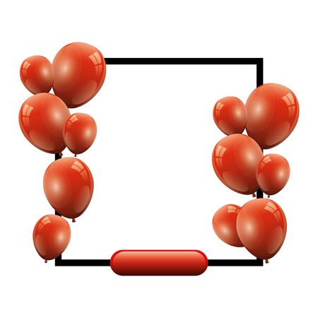 set of balloons helium red with square frame vector illustration design