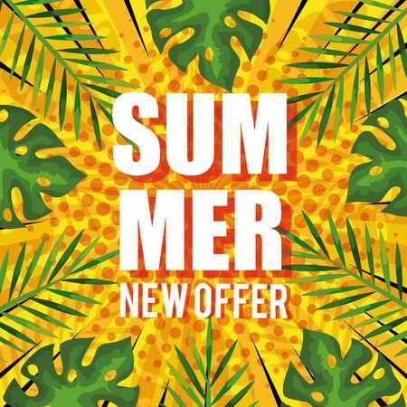 summer new offer, banner with tropical leaves background, exotic floral banner vector illustration design