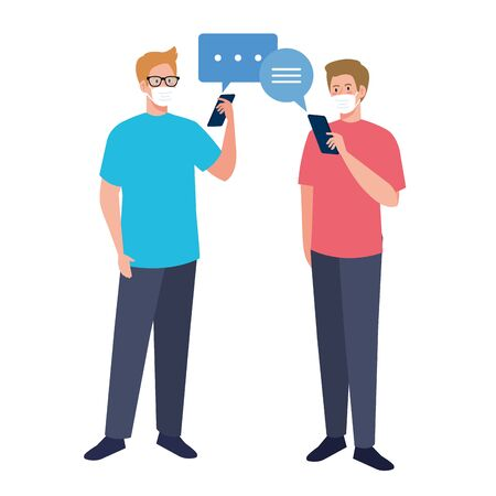 Men with medical masks holding smartphone and bubbles design of Covid 19 virus theme Vector illustration