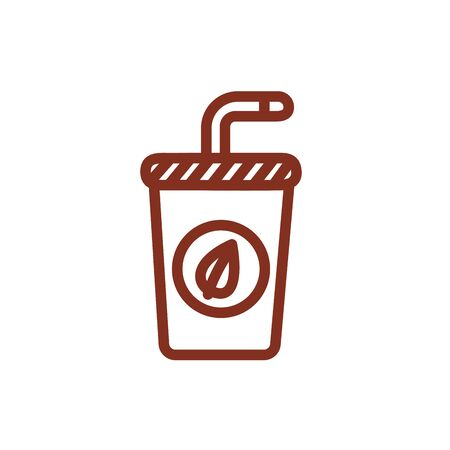 coffee drink in plastic container line style vector illustration design
