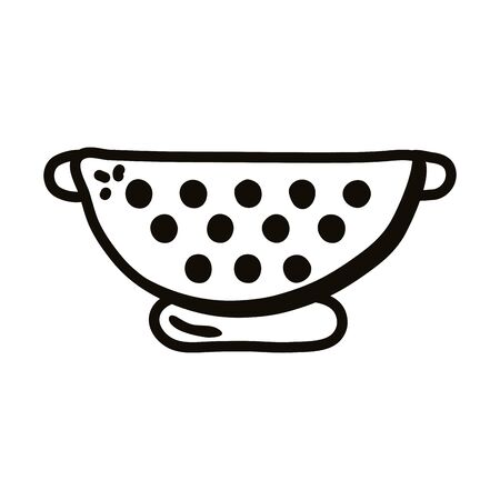 strainer line style icon design, Cook kitchen eat and food theme Vector illustration Vetores