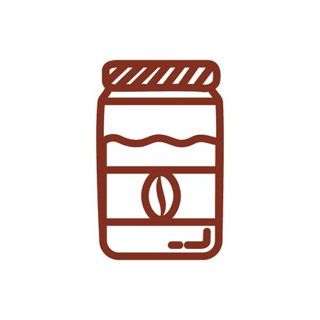 coffee bottle product with seed line style icon vector illustration design