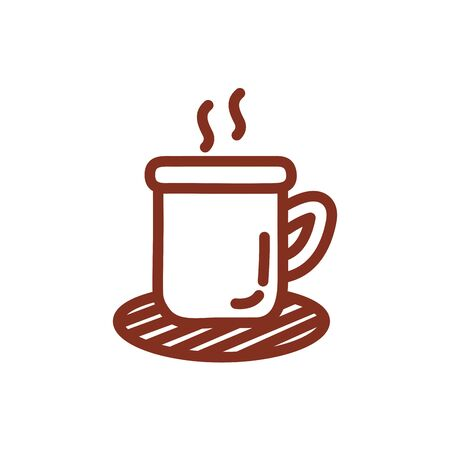 coffee cup drink line style icon vector illustration design