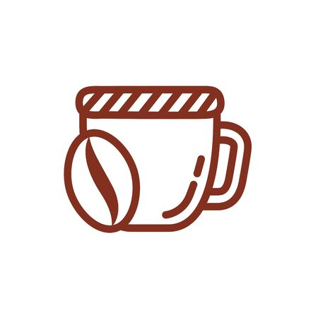 coffee cup drink with grains seeds line style icon vector illustration design