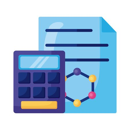 dna molecule structure in document with calculator detailed style icon vector illustration design