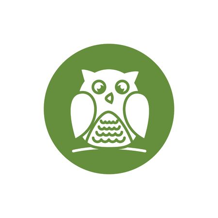 owl bird block style icon vector illustration design