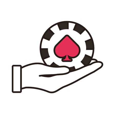 hand lifting casino chip with spade isolated icon vector illustration design