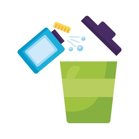 disinfectant bottle product with bucket detaild style vector illustration design
