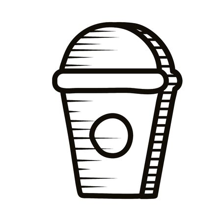 sweet coffee in plastic pot doodle line style icon vector illustration design