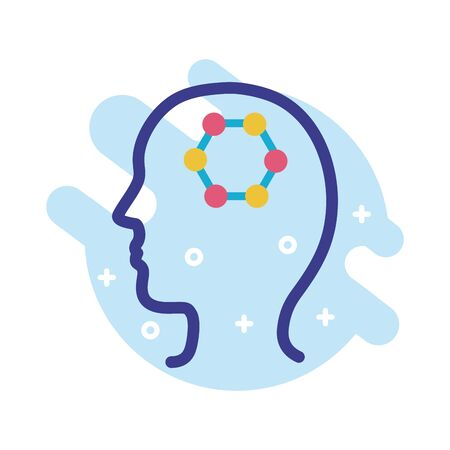 profile with dna structure mental health line style icon vector illustration design