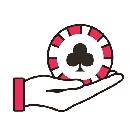 hand lifting casino chip with clover isolated icon vector illustration design 일러스트