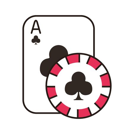 casino poker card and chip with clover isolated icon vector illustration design