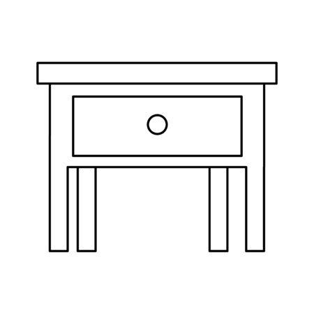 silhouette of bedside table isolated icon vector illustration design Ilustração