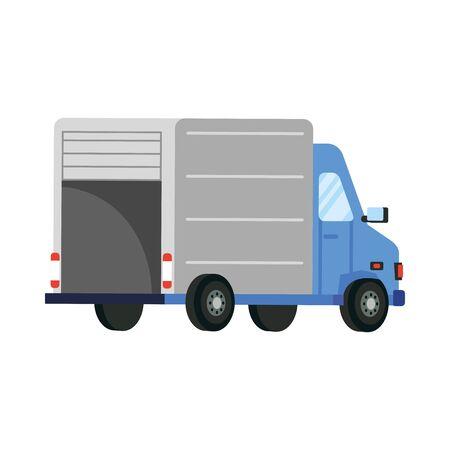 conception de camion, logistique de quarantaine de livraison sûre et thème de transport Illustration vectorielle Vecteurs