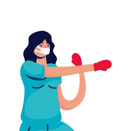 professional female doctor boxing with gloves vector illustration design