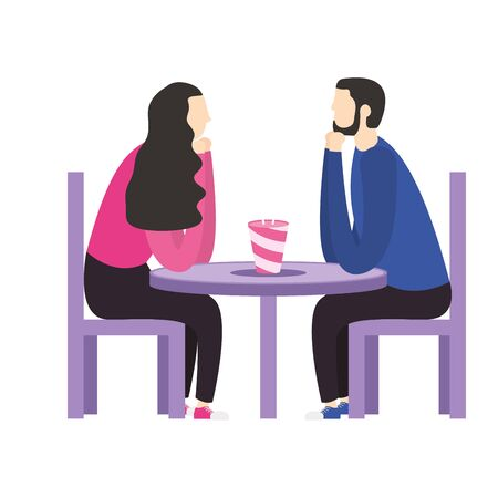 Couple of woman and man on table design, Relationship love and romance theme Vector illustration Vectores