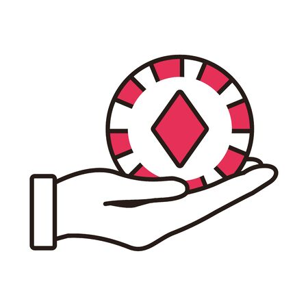 hand lifting casino chip with diamond isolated icon vector illustration design