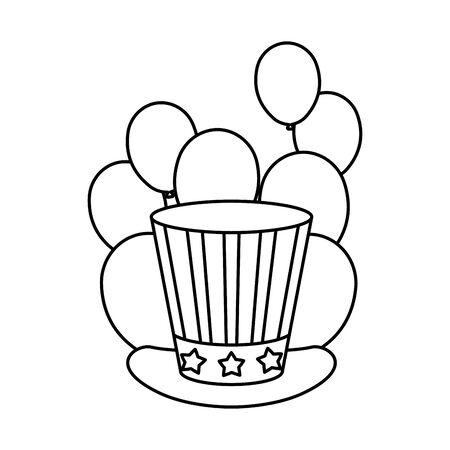 president day hat with usa flag vector illustration design Illustration