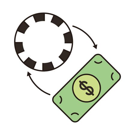 casino chip with arrows and bill dollar vector illustration design