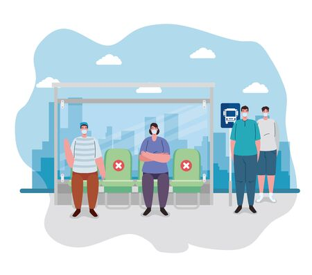 social distancing with people in bus station, passenger waiting bus stop, city community transport with diverse commuters together, prevention coronavirus covid 19 vector illustration design
